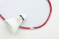Badminton racket with shuttlecock top right view Stock Image