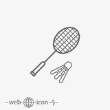 Badminton racket with shuttlecock vector icon Royalty Free Stock Photo
