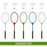 Badminton racket and shuttlecock. Vector illustration of badminton racket and shuttlecock isolated in white background. Sport equipment in flat style Royalty Free Stock Images