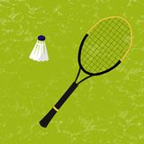 Badminton racket and shuttlecock. Vector Illustration. On the green texture background. Sports, fitness, activity  design Stock Photography