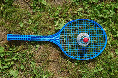Badminton racket and shuttlecocks Royalty Free Stock Photography