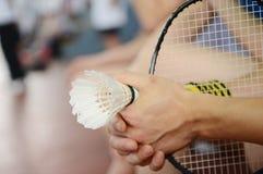 Badminton racket and shuttlecocks Royalty Free Stock Image