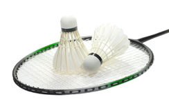Badminton racket and shuttlecocks isolated Stock Images