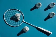 Badminton racket and shuttlecocks Royalty Free Stock Photos