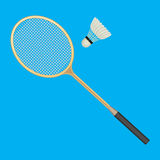 Badminton racket and white shuttlecock with black line. Vector illustration of equipments for badminton game sport isolated on background in flat design Royalty Free Stock Photo