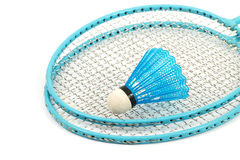 Badminton rackets. Two badminton rackets with a ball and a white background Stock Photo