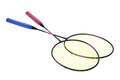 Badminton Rackets. On Isolated White Background Royalty Free Stock Photo