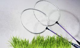 Badminton rackets against a brick wall background. Green grass Stock Photo