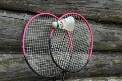 Badminton Rackets and Ball Royalty Free Stock Photography