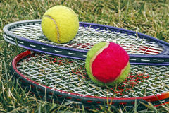 Badminton rackets and balls Stock Photos