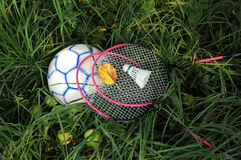 Badminton Rackets and Bird on the Ball. Badminton rackets and birdie on the blue and white ball against green grass background with green apples on the grass and Royalty Free Stock Photo