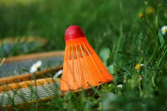 Badminton rackets with orange shuttlecock on green grass Stock Photos