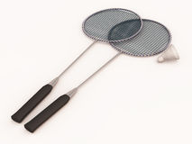 Badminton rackets and shuttle Stock Photo