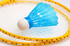 Badminton rackets with a shuttle Royalty Free Stock Photos