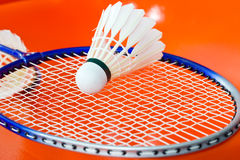 Badminton rackets and shuttlecock Stock Photography