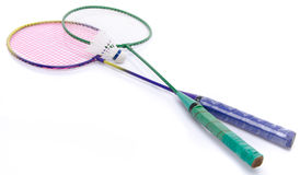 Badminton rackets and shuttlecock Stock Images