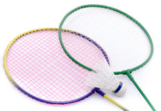Badminton rackets and shuttlecock Stock Image