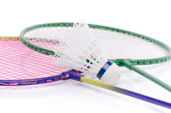 Badminton rackets and shuttlecock Royalty Free Stock Images