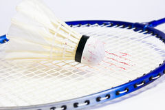 Badminton rackets and shuttlecock. Isolated on white background Royalty Free Stock Photos