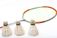 Badminton rackets and shuttlecock isolated on white background Stock Photo