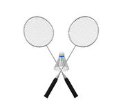Badminton Rackets and a Shuttlecock. Isolated on white background. 3D render Royalty Free Stock Photos