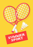 Badminton rackets and shuttlecock on yellow background. Summer sport banner. Flat style. Vector Stock Images