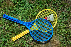 Badminton rackets and shuttlecocks Stock Photography