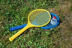 Badminton rackets and shuttlecocks Royalty Free Stock Image