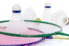 Badminton rackets and shuttlecocks Royalty Free Stock Photo