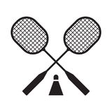 Badminton Rackets and Volant. Crossed badminton rackets and volant icon in outline design. Logo or label template Royalty Free Stock Photo
