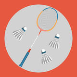 Badminton racquet icon. Colorful badminton racquet and three badminton shuttlecocks on a red background. Sports Royalty Free Stock Photography