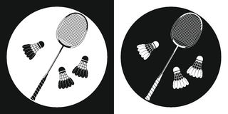 Badminton racquet icon. Silhouette tennis racquet and three badminton shuttlecock on a black and white background. Sports Equipmen Royalty Free Stock Image
