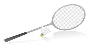 Badminton racquet with shuttle. Cock. Vector illustration Royalty Free Stock Images