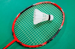 Badminton Racquet and Shuttlecock. On the court Royalty Free Stock Photos