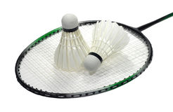 Badminton racquet with shuttlecock over white. Badminton sport racquet with two feather shuttlecocks isolated on white Royalty Free Stock Photo