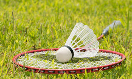 Badminton racquet with a shuttlecock Royalty Free Stock Photography