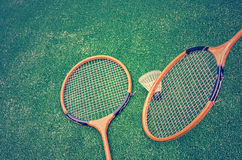 Badminton racquets and shuttlecock Stock Photography