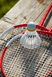 Badminton racquets with shuttlecock Stock Photos