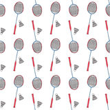 Badminton racquets and shuttlecocks. Seamless Stock Images