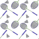 Badminton racquets and shuttlecocks. Seamless Royalty Free Stock Images