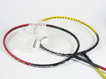 Badminton Raquets Crossed. Two crossed badminton raquets with shuttlecocks Stock Photography