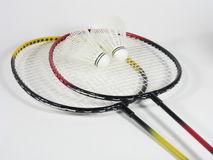 Badminton Raquets I. Two badminton raquets with shuttlecocks royalty free stock image