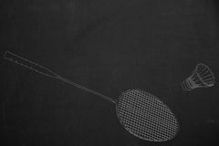 Badminton scene drawed with white chalk on a dark chalkboard Stock Photo