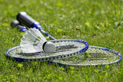 Badminton set on grass Royalty Free Stock Photography