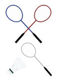 Badminton and shuttle. On a white background Royalty Free Stock Image