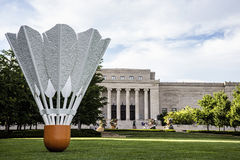 Badminton shuttlecock art. Badminton shuttlecock statue on the lawn of the   William Rockhill Nelson Art gallery in Kansas city Missouri USA Stock Image