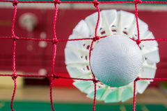 Badminton. Shuttlecock on net, badminton sports Royalty Free Stock Photo