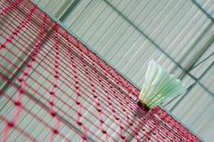 Badminton. Shuttlecock on net, badminton sports Royalty Free Stock Image