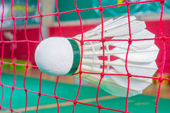 Badminton. Shuttlecock on net, badminton sports Stock Photos