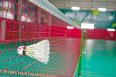 Badminton. Shuttlecock on net, badminton sports Stock Photo